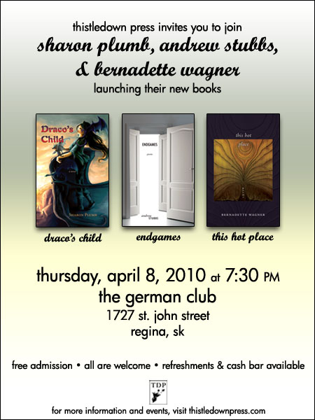 Book Launch, 7:30 pm, April 8, The German Club, 1727 St. John St., Regina